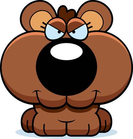bear cub: A cartoon illustration of a bear cub with a sly expression.