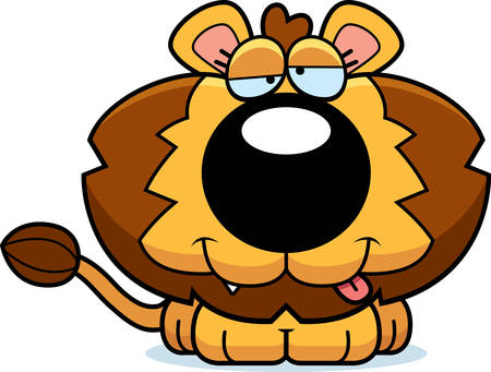 goofy: A cartoon illustration of a lion cub with a goofy expression. Illustration