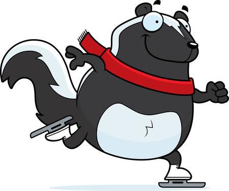A cartoon illustration of a skunk ice skating.