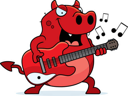 A cartoon illustration of a devil playing an electric guitar.