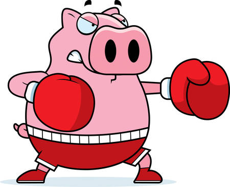 A cartoon illustration of a pig punching with boxing gloves.