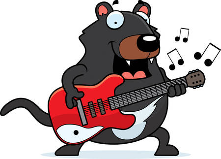 A cartoon illustration of a Tasmanian devil playing an electric guitar.