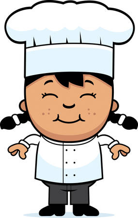 latina: A cartoon illustration of a girl chef standing and smiling.