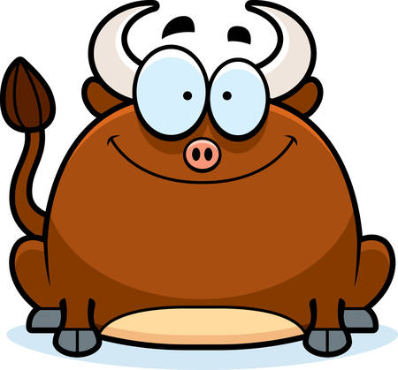 smilling: A cartoon illustration of a little bull smiling.