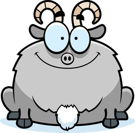 smirking: A cartoon illustration of a little goat smiling. Illustration