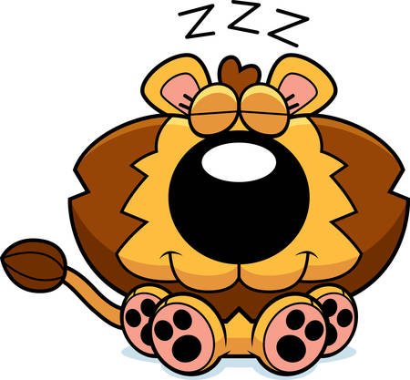 cub: A cartoon illustration of a lion cub taking a nap. Illustration