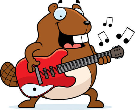A cartoon illustration of a beaver playing an electric guitar.