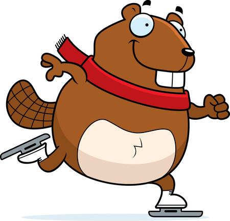 A cartoon illustration of a beaver ice skating. Ilustracja