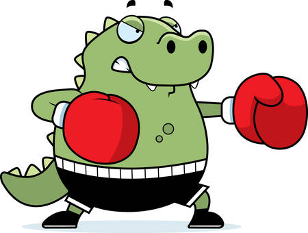 gator: A cartoon illustration of a lizard punching with boxing gloves. Illustration