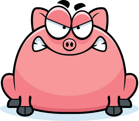 growl: A cartoon illustration of a little pig looking mad.