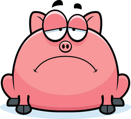 scowl: A cartoon illustration of a little pig looking sad.