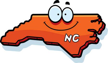 north carolina: A cartoon illustration of the state of North Carolina smiling. Illustration