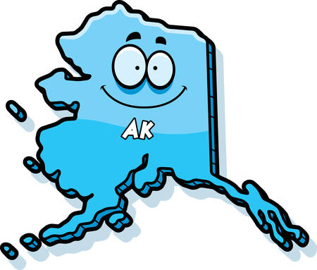 A cartoon illustration of the state of Alaska smiling. Иллюстрация