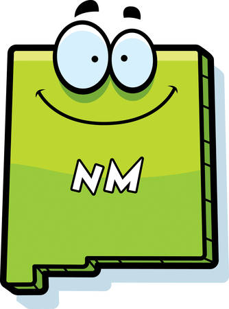 nm: A cartoon illustration of the state of New Mexico smiling. Illustration
