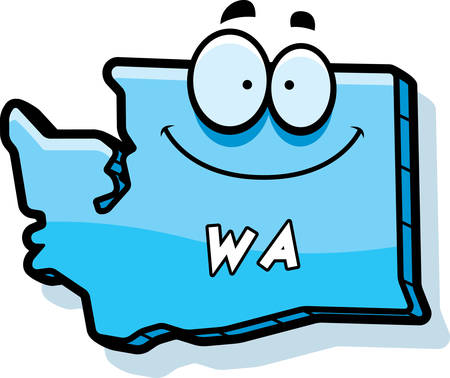 washington state: A cartoon illustration of the state of Washington smiling. Illustration