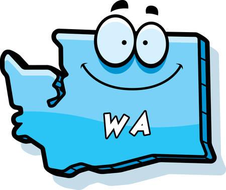 A cartoon illustration of the state of Washington smiling. Illustration