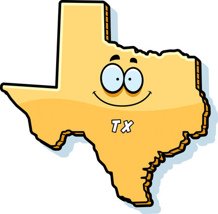 tx: A cartoon illustration of the state of Texas smiling.