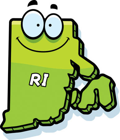 island clipart: A cartoon illustration of the state of Rhode Island smiling. Illustration