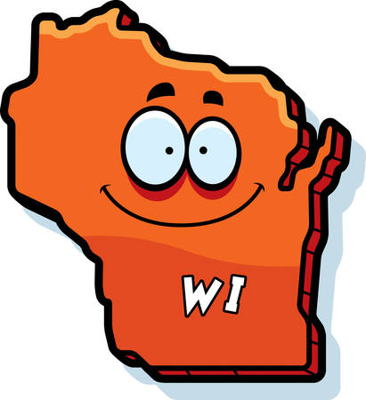 wisconsin: A cartoon illustration of the state of Wisconsin smiling.