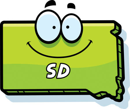 sd: A cartoon illustration of the state of South Dakota smiling.