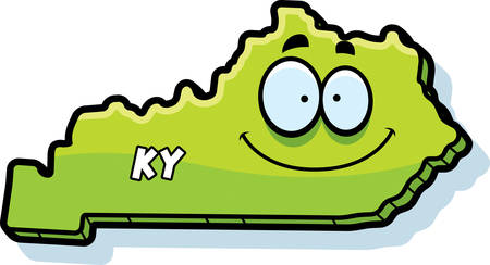 kentucky: A cartoon illustration of the state of Kentucky smiling.