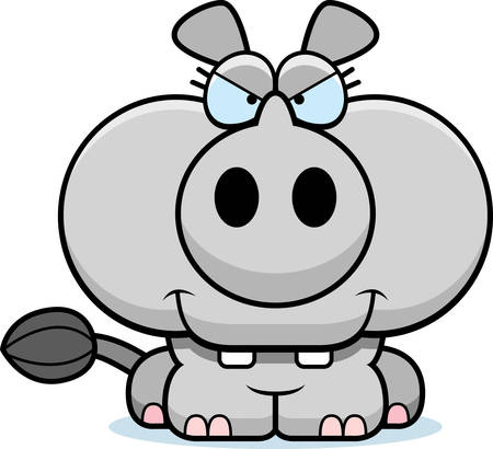 devious: A cartoon illustration of a little rhinoceros with a devious expression.