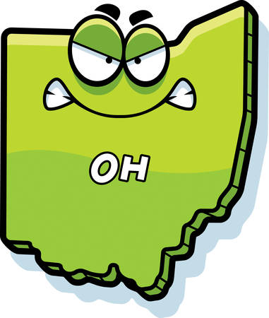 outraged: A cartoon illustration of the state of Ohio looking angry.