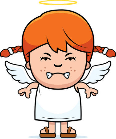 angry angel: A cartoon illustration of a angel girl with an angry expression. Illustration