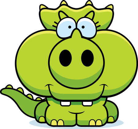 A cartoon illustration of a little Triceratops dinosaur happy and smiling.