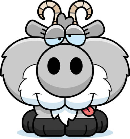 A cartoon illustration of a goat with a goofy expression. Illustration