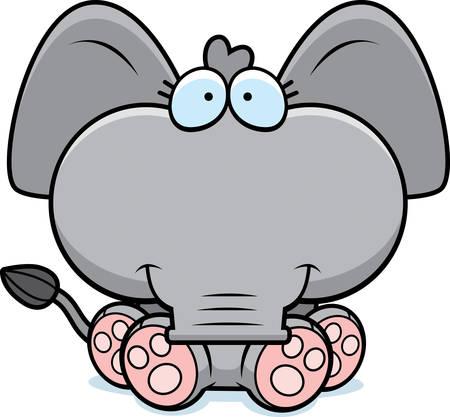 앉아서 웃 고 작은 코끼리의 만화 그림.