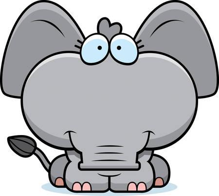 행복 하 고 웃 고 작은 코끼리의 만화 그림.