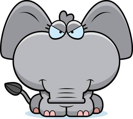 교활한 식으로 작은 코끼리의 만화 그림.