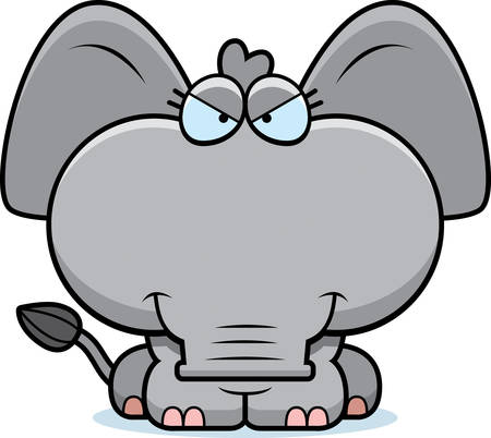 sly: A cartoon illustration of a little elephant with a sly expression.