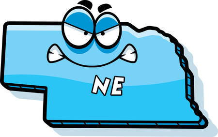 ne: A cartoon illustration of the state of Nebraska looking angry.