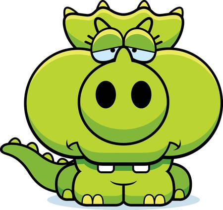작은 트리케라톱스 공룡 슬픈 식의 만화 그림.