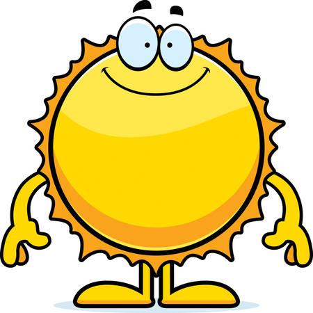 A cartoon illustration of the Sun looking happy.