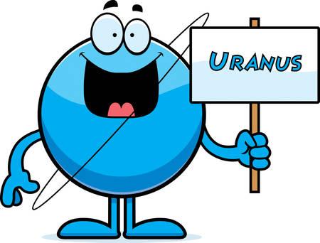 uranus: A cartoon illustration of the planet Uranus holding a sign.