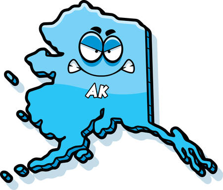 A cartoon illustration of the state of Alaska looking angry.