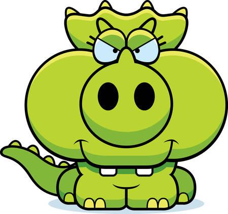 교묘 한 식 트리케라톱스 작은 공룡의 만화 그림.