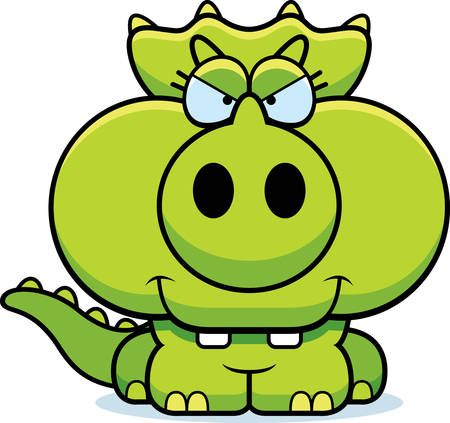 A cartoon illustration of a little Triceratops dinosaur with a devious expression.