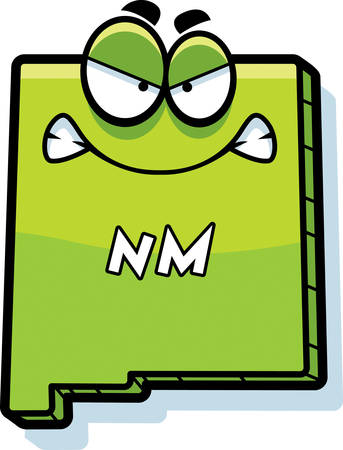 nm: A cartoon illustration of the state of New Mexico looking angry. Illustration