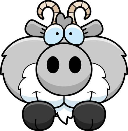 A cartoon illustration of a goat peeking over an object. Çizim