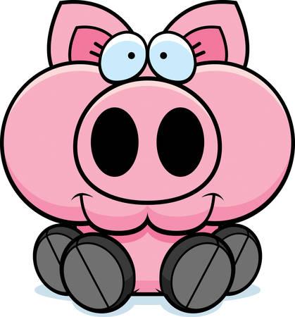 A cartoon illustration of a little pig sitting and smiling. Ilustração