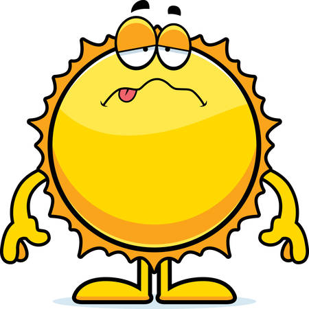 nauseous: A cartoon illustration of the Sun looking sick.