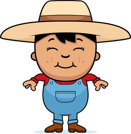 hispanic boys: A cartoon illustration of a boy farmer standing and smiling. Illustration