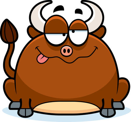 impaired: A cartoon illustration of a little bull looking drunk.