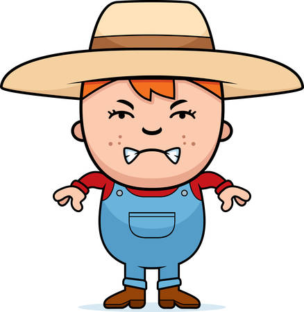 angry teenager: A cartoon illustration of a farmer boy with an angry expression.