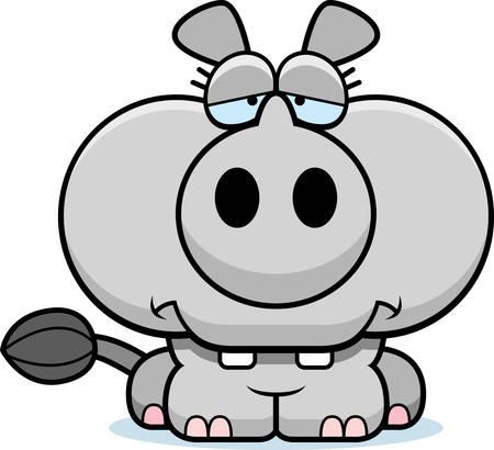 A cartoon illustration of a little rhinoceros with a sad expression. 向量圖像