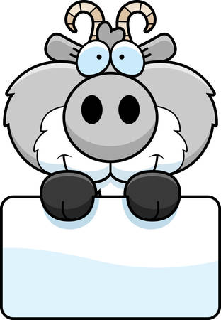 child holding sign: A cartoon illustration of a goat with a white sign. Illustration